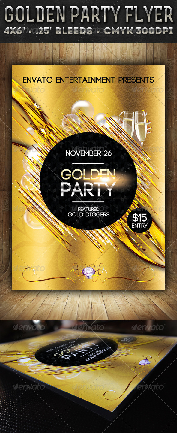 Golden Party - Flyer - Events Flyers