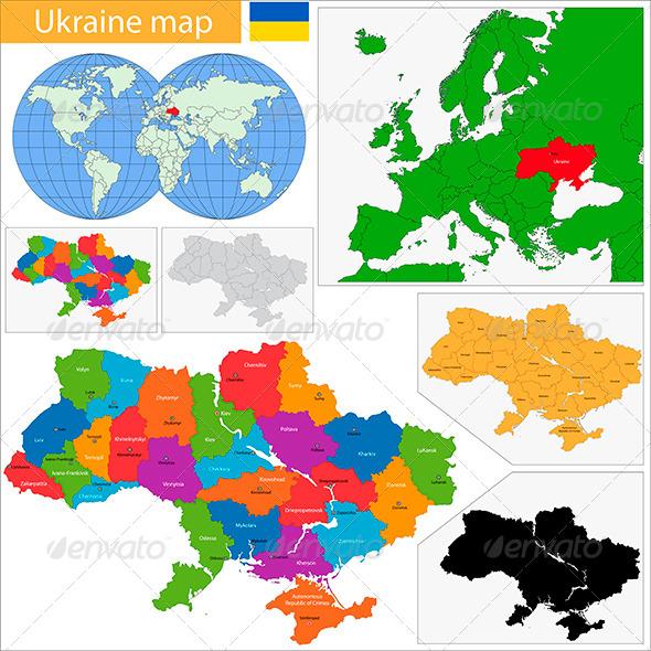 Ukraine Map - Travel Conceptual