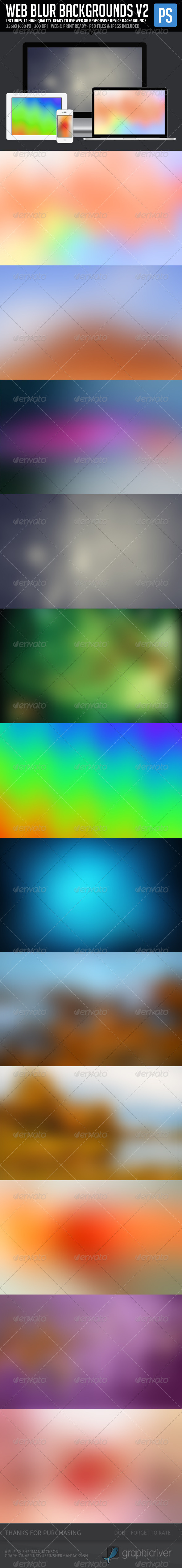 Web Blur Backgrounds V2 (12 in 1) - Backgrounds Graphics
