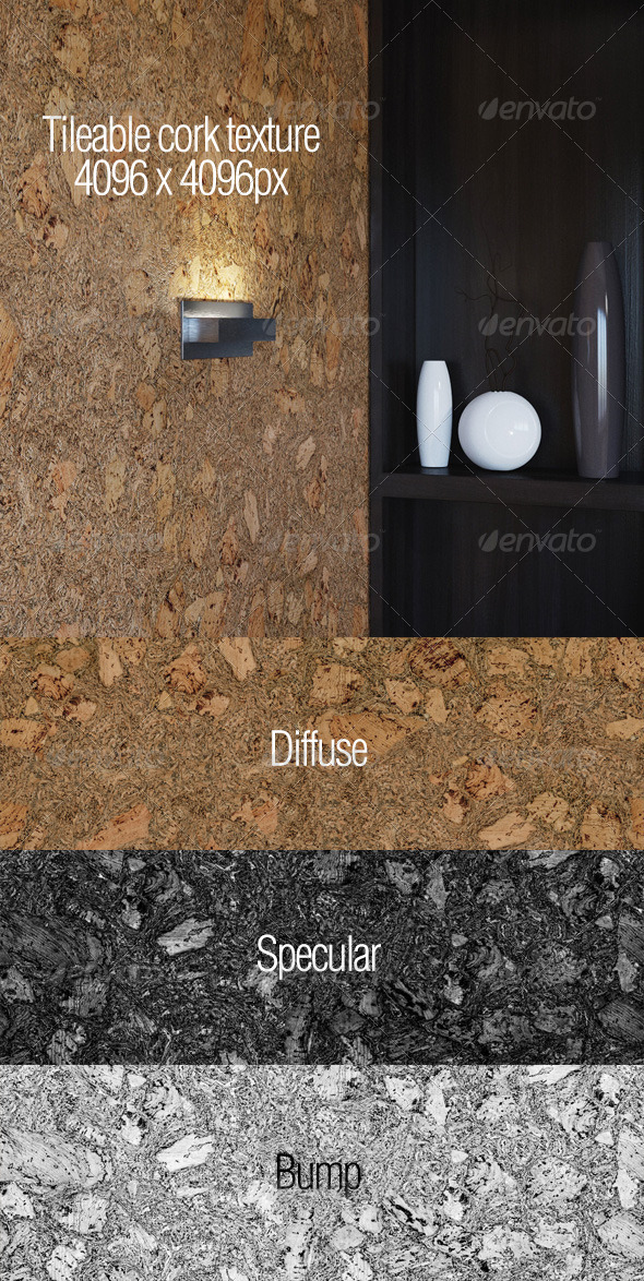 High resolution tileable cork texture - 3DOcean Item for Sale
