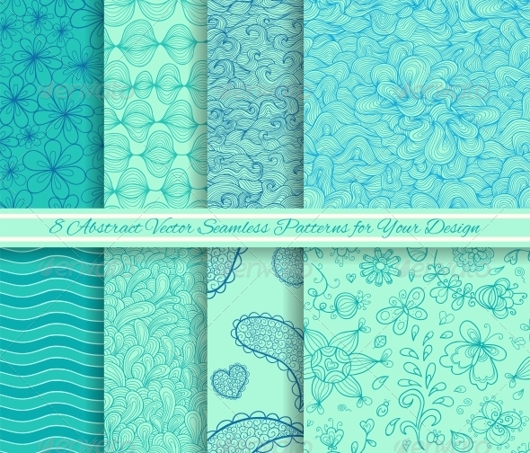 Set of 8 Abstract Vector Seamless Patterns - Patterns Decorative