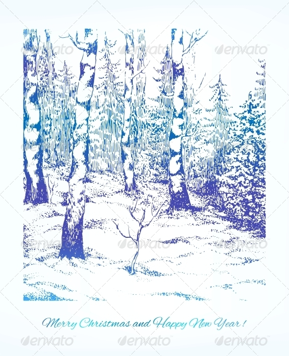 Vintage Hand Drawn Landscape - Christmas Seasons/Holidays