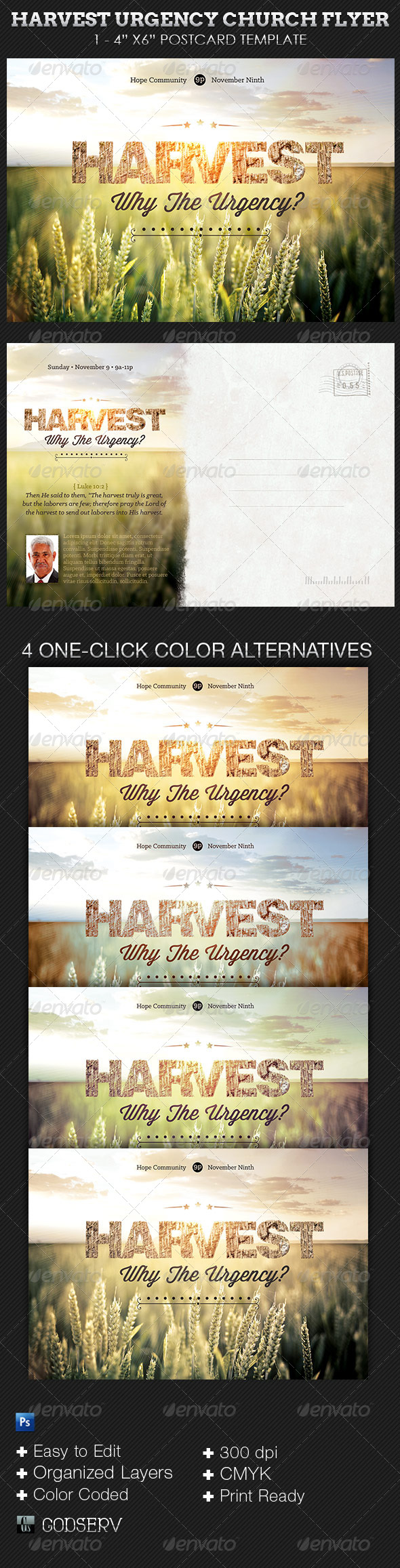 Harvest Urgency Church Flyer Postcard Template - Church Flyers