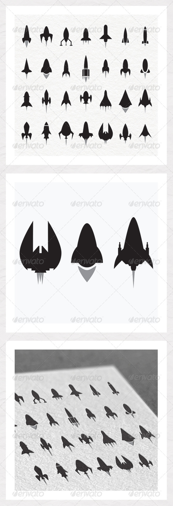 Rocket and Spaceship Silhouettes - Man-made Objects Objects