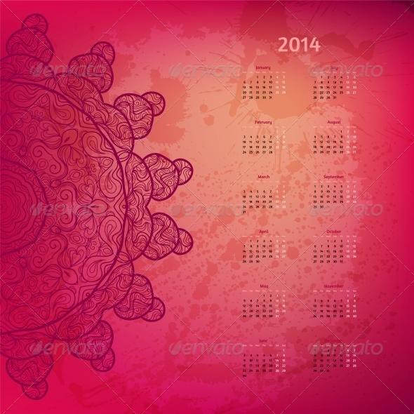 Colorful Rosy 2014 Year Calendar - New Year Seasons/Holidays