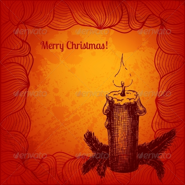 Colorful Card with a Candle and Fir Tree - Christmas Seasons/Holidays