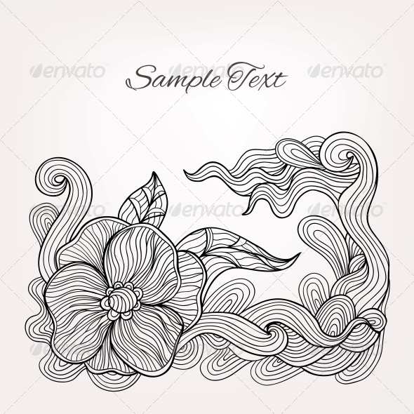 Black and White Floral Doodle Vector Card - Backgrounds Decorative