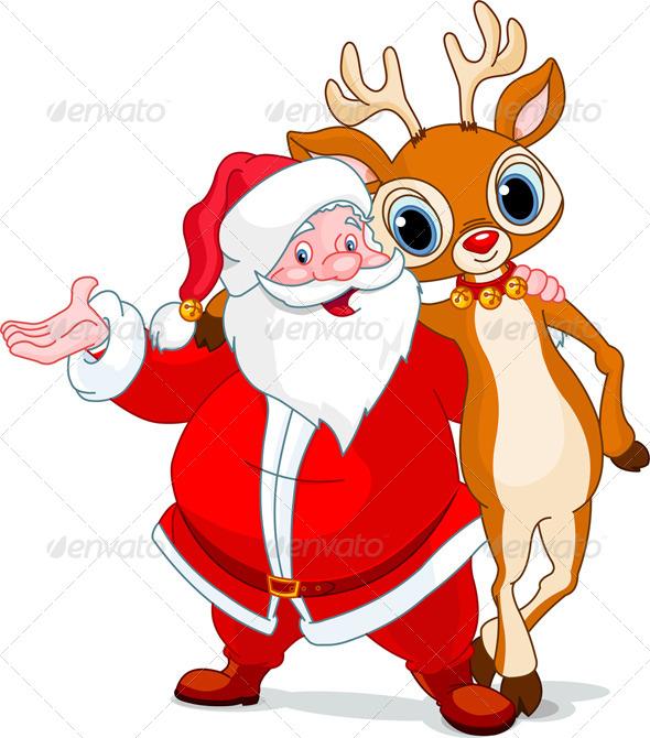 Santa and his Reindeer Rudolf - Christmas Seasons/Holidays