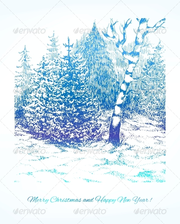 Merry Christmas Vector Winter Background - Christmas Seasons/Holidays