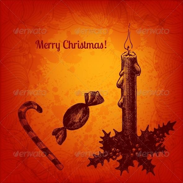 Colorful Christmas Card with Winterberry - Christmas Seasons/Holidays