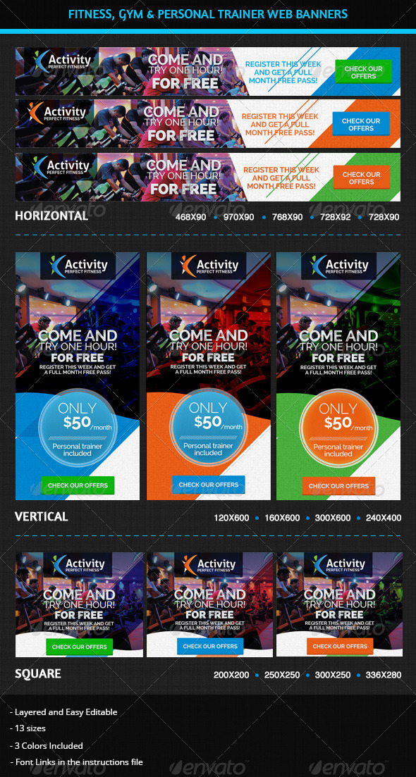 Fitness, Gym & Personal Trainer Web Banners - Banners & Ads Web Elements