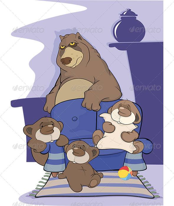 Big Bear Family Cartoon - Animals Characters