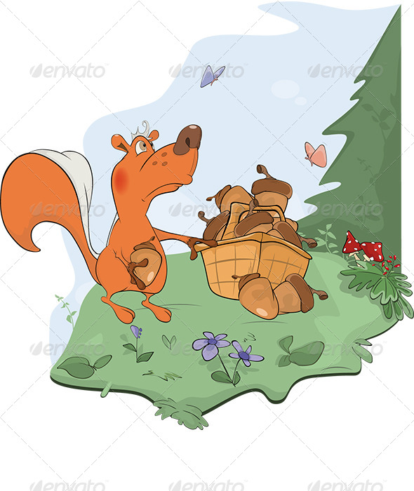 Squirrel and Acorns Cartoon  - Animals Characters