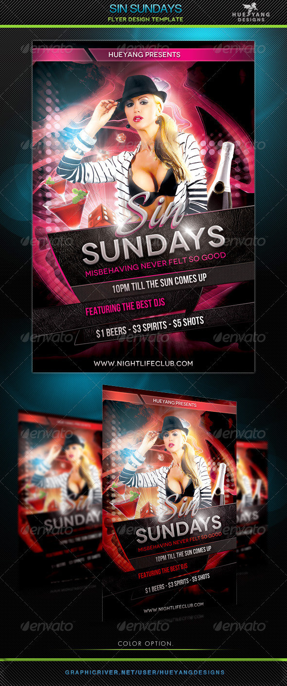 Sin Sundays Flyer Template - Clubs & Parties Events