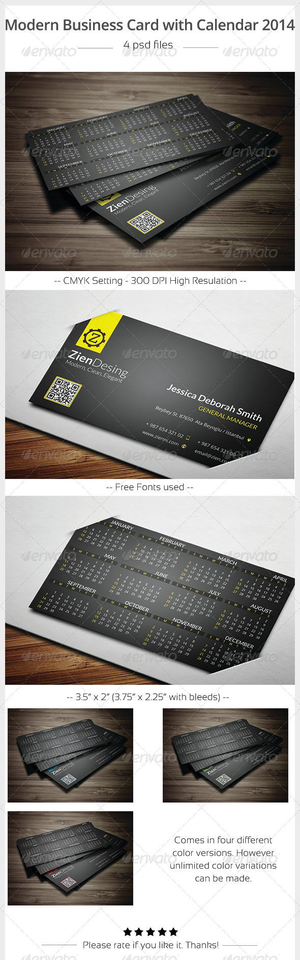 Modern Business Card with 2014 Calendar - Calendars Stationery