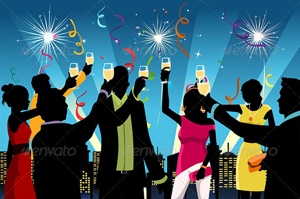 New Year Celebration Party - Decorative Vectors