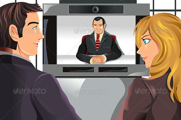 Business People Video Conferencing - People Characters