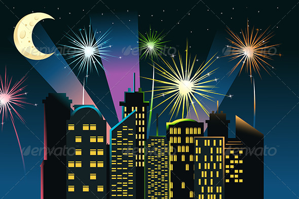 Fireworks in the City - Decorative Vectors