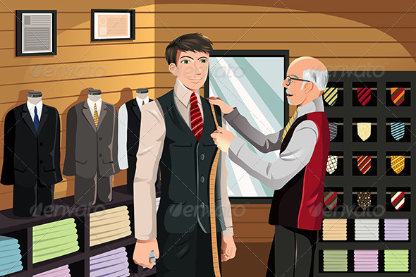 Tailor Fitting for Suit - People Characters