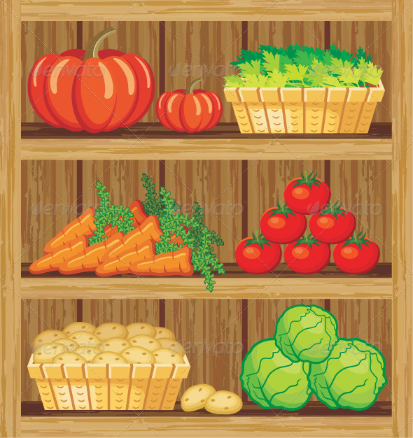 Supermarket. Shelfs and Vegetables - Food Objects