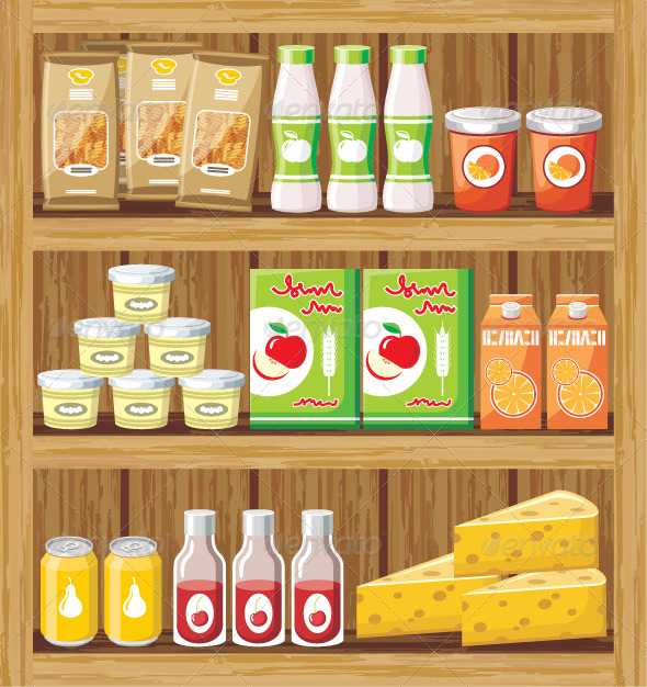 Supermarket. Shelfs with Food - Food Objects