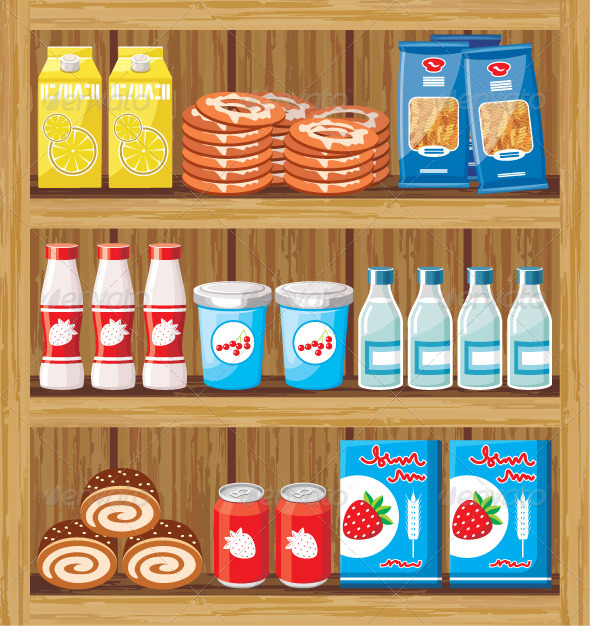 Supermarket Shelves with Food - Food Objects