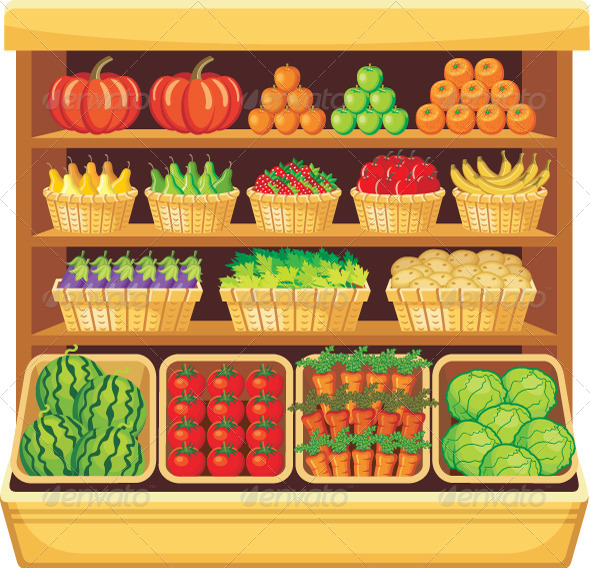 Supermarket. Vegetables and Fruits. - Food Objects