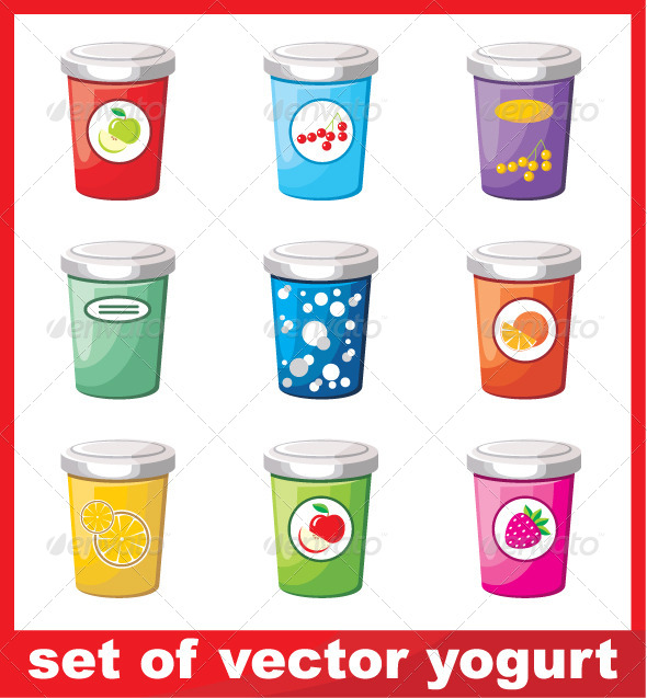 Set of Yogurt - Food Objects