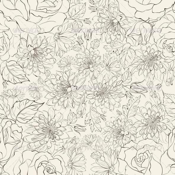 Seamless Pattern from Chrysanthemums - Flowers & Plants Nature