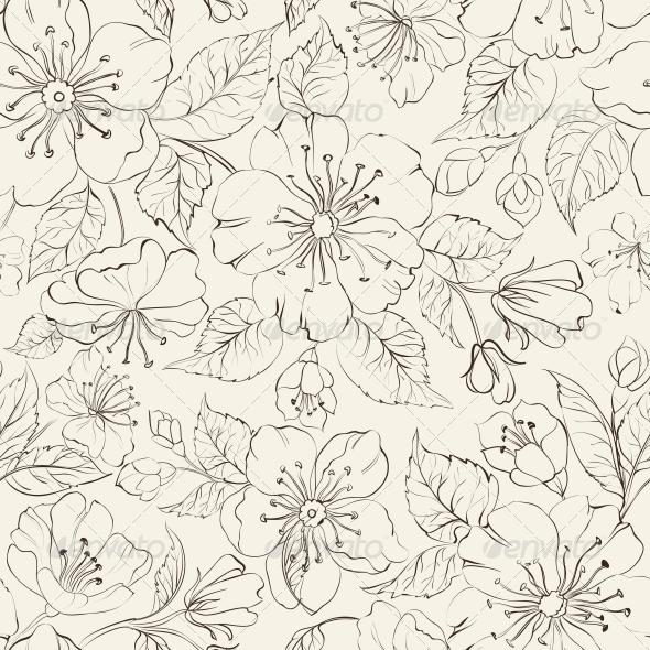 Sacura Seamless Background. - Flowers & Plants Nature