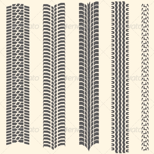 Vector Set of 5 Tire Tracks - Sports/Activity Conceptual