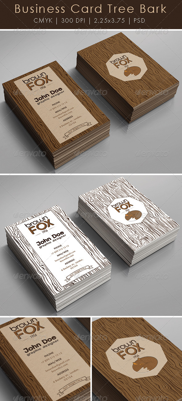 Business Card Tree Bark - Creative Business Cards