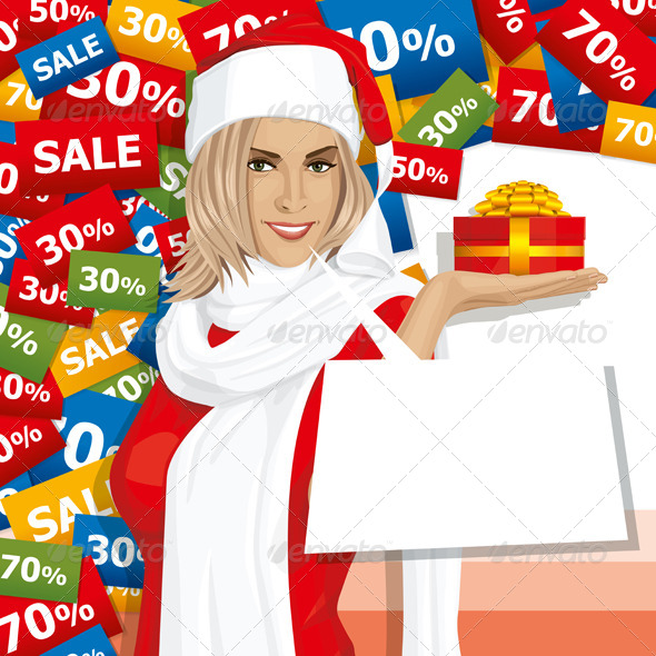 Vector Woman Waiting for Christmas - People Characters
