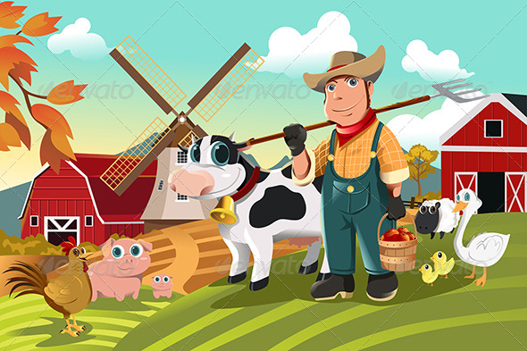 Farmer at the Farm with Animals - People Characters