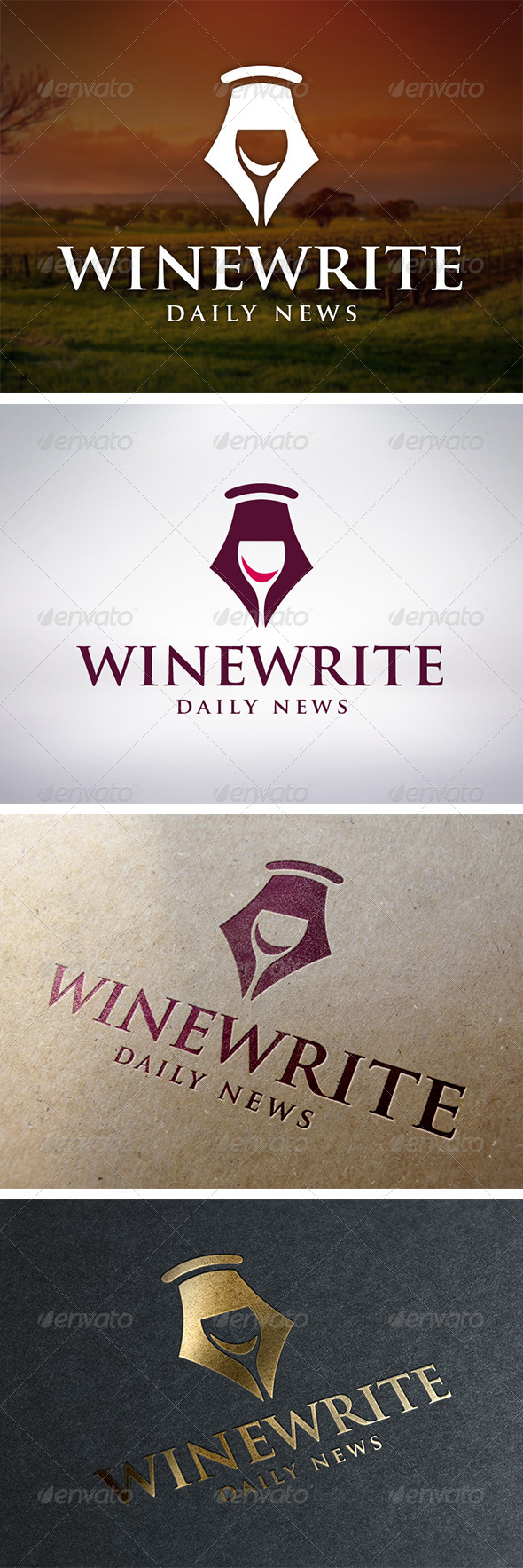 Wine Writer Logo Template - Food Logo Templates