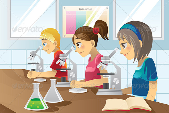 Kids in Science Lab - People Characters