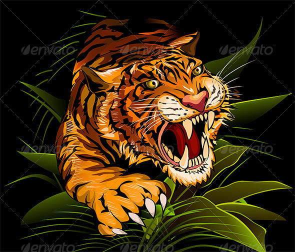 The Hunting Tiger - Animals Characters