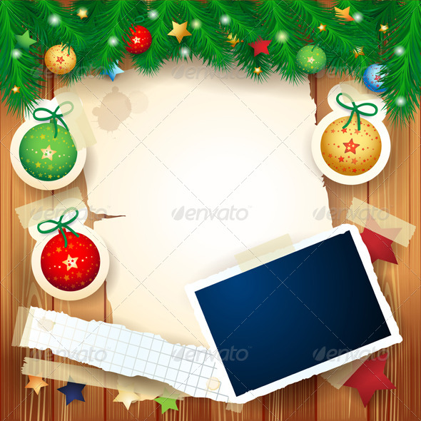 Christmas Background with Photo Frame - Christmas Seasons/Holidays