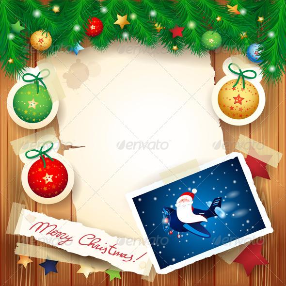 Christmas Background with Santa - Christmas Seasons/Holidays