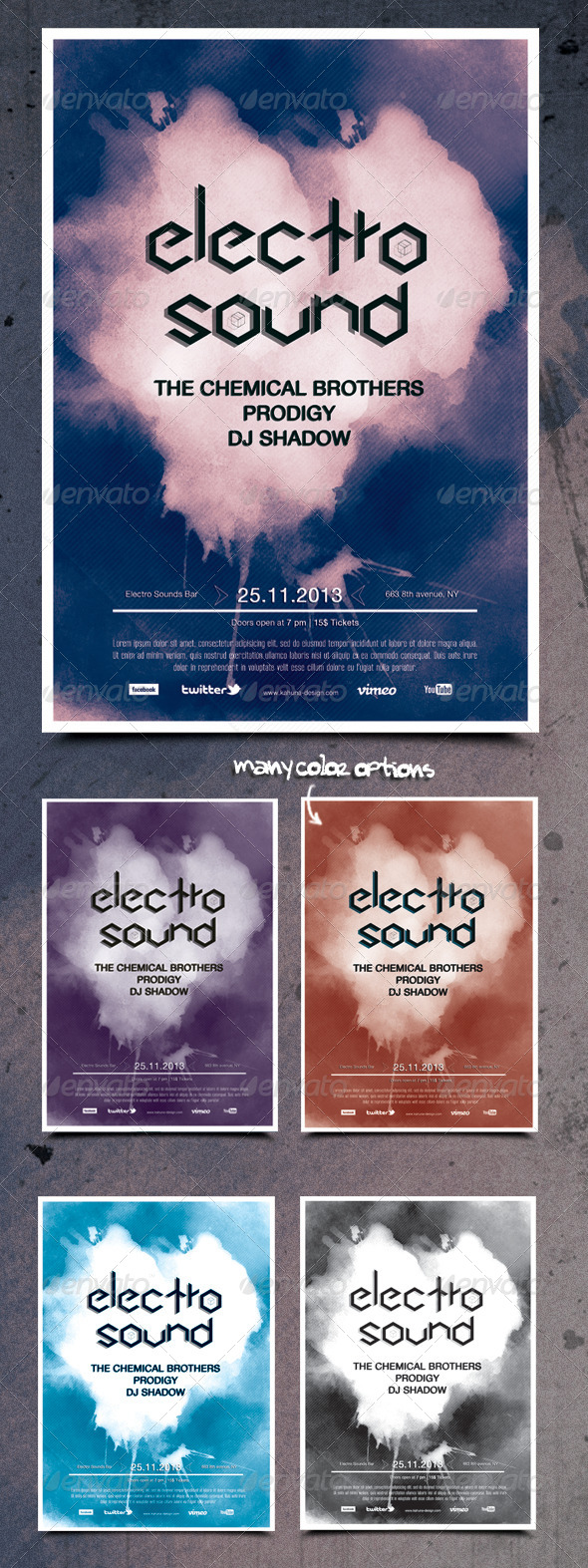 Electro Techno Flyer Poster - Clubs & Parties Events
