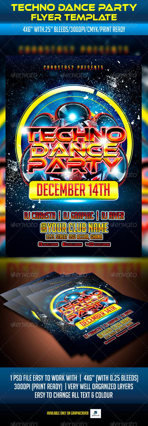 Techno Dance Party Flyer Template - Clubs & Parties Events