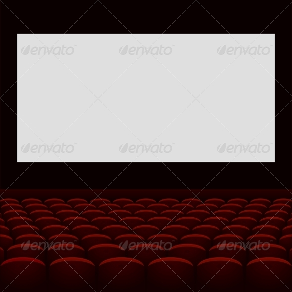 Cinema Theatre with Screen and Seats - Buildings Objects