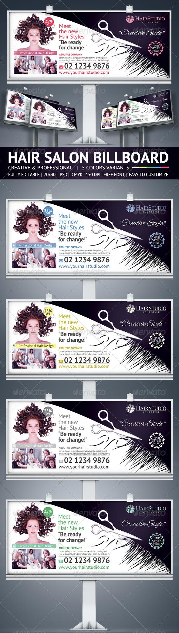 Hair Salon Billboard - Signage Print Templates