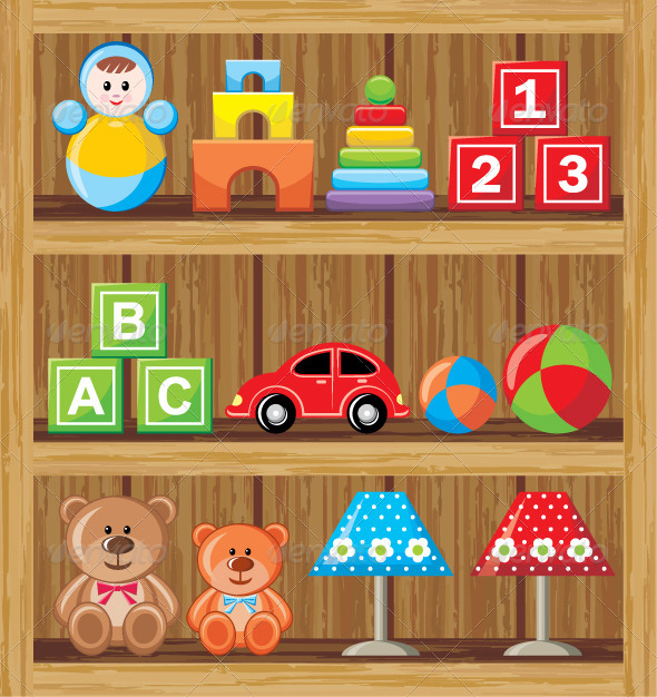 Shelves with Toys - Objects Vectors