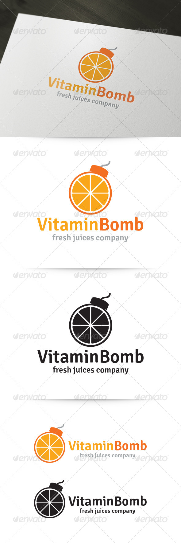 Vitamin Bomb Logo - Food Logo Templates