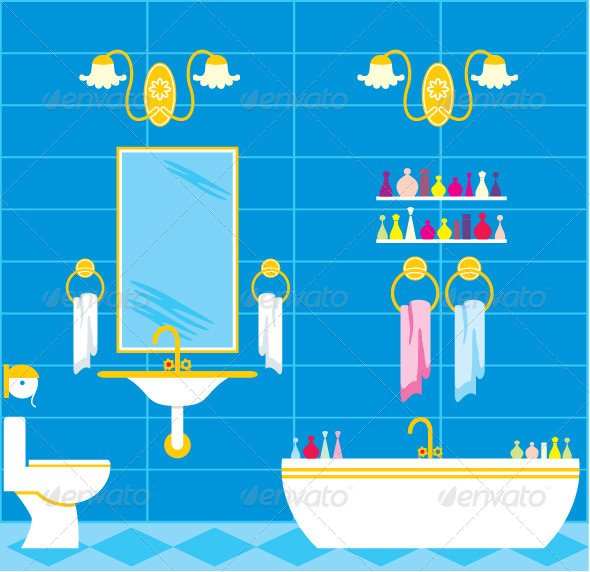 Picture of a Bathroom with Accessories and Lighting - Buildings Objects
