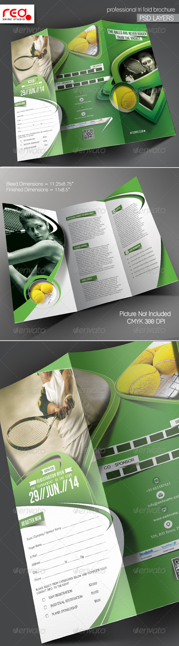 Tennis Competition Trifold Brochure Template - Catalogs Brochures