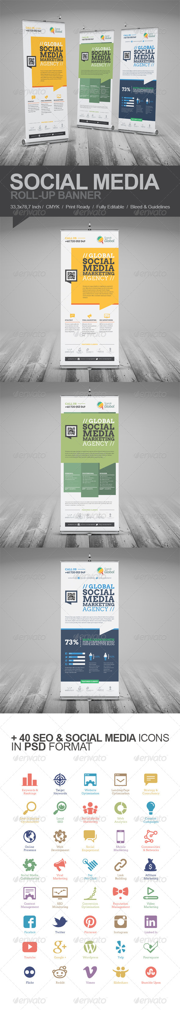 Social Media Marketing Roll-Up Banner - Signage Print Templates