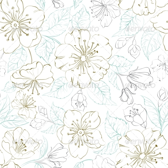 Seamless Pattern Scatch of Spring Sakura - Flowers & Plants Nature