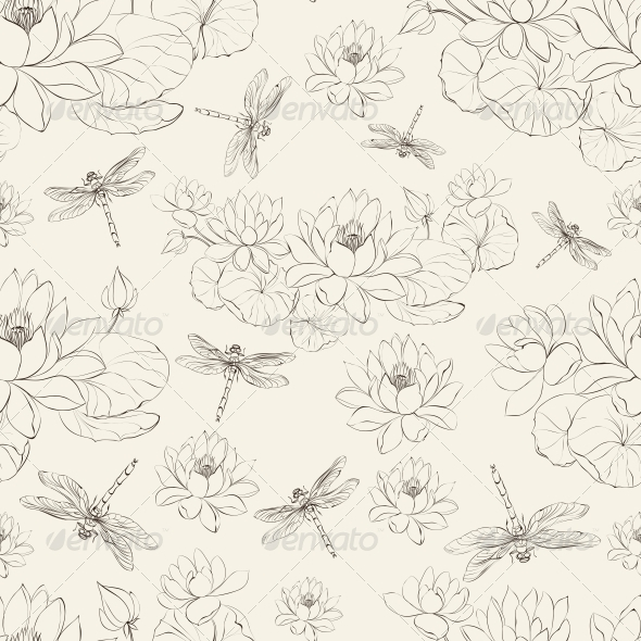 Seamless Pattern of Lotus Flower and Dragonfly - Flowers & Plants Nature